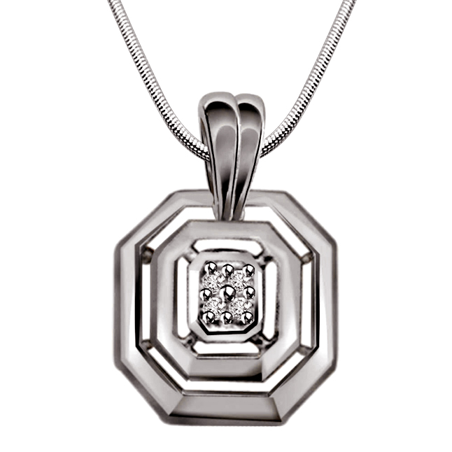 Sent From Heaven - Real Diamond & Sterling Silver Pendant with 18 IN Chain