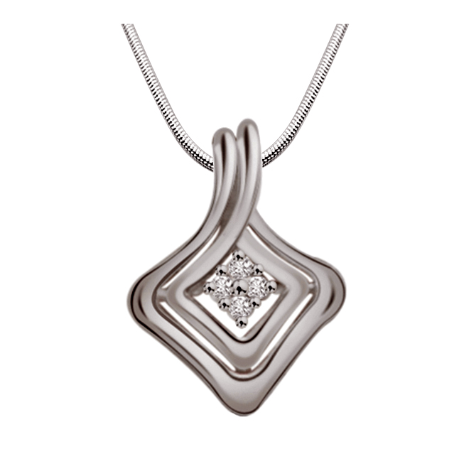 "Mystery Of Life -Real Diamond & Sterling Silver Pendants with 18"" Chain"