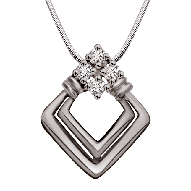 "Precious Blessing -Real Diamond & Sterling Silver Pendants with 18"" Chain"