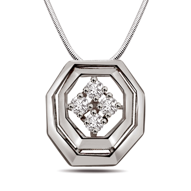 "Bundle Of Joy -Real Diamond & Sterling Silver Pendants with 18"" Chain"