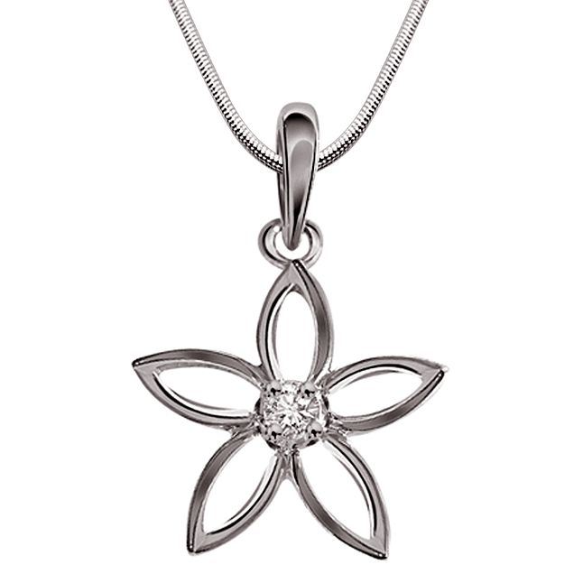 "Flowers Brings Smiles -Real Diamond & Sterling Silver Pendants with 18"" Chain"