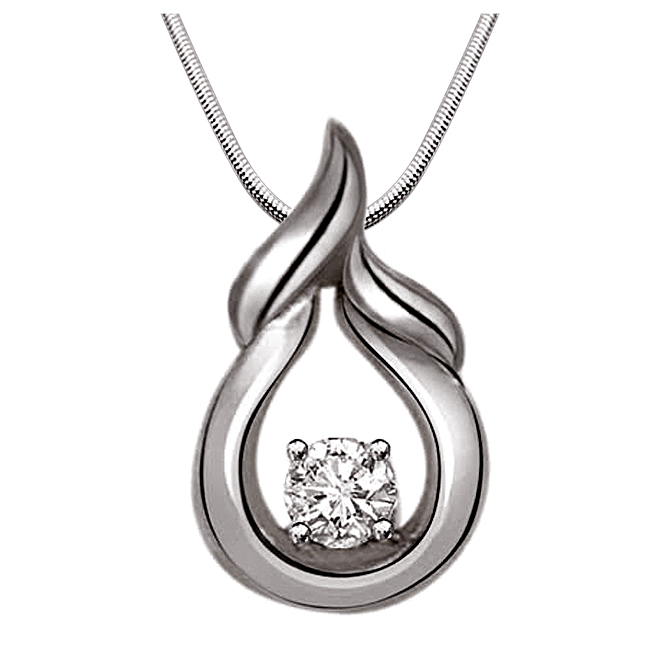 "Happiness is On.. -Real Diamond & Sterling Silver Pendants with 18"" Chain"