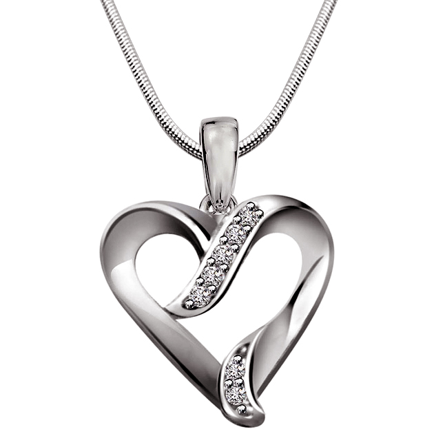 Peace of Mind - Real Diamond & Sterling Silver Pendant with 18 IN Chain