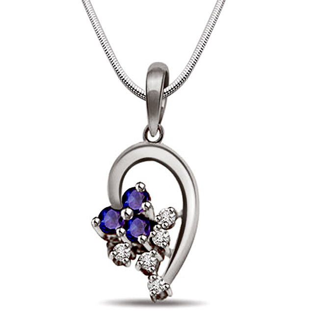 Bunch of Stars - Sapphire, Real Diamond & Sterling Silver Pendant with 18 IN Chain