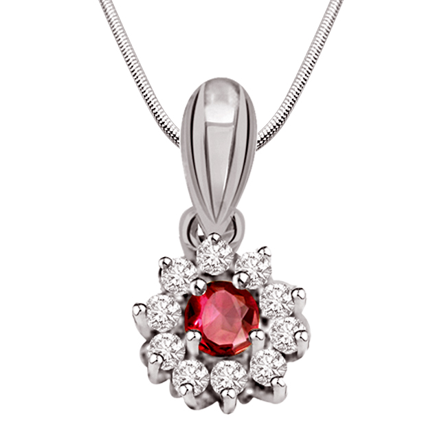 Star of The Show - Ruby, Real Diamond & Sterling Silver Pendant with 18 IN Chain