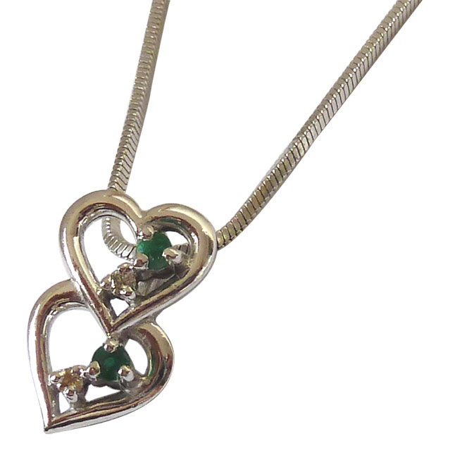 "Lifetime Of Love -Real Diamond Green Emerald & Silver Pendants with 18"" Chain"