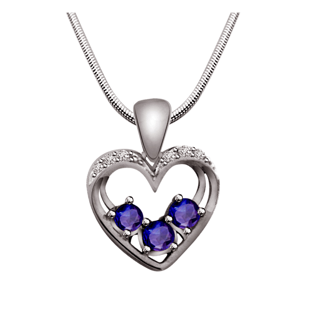 "Kind Hearted  -Real Diamond, Sapphire & Sterling Silver Pendants with 18"" Chain"