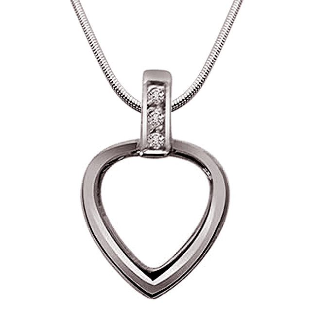 "Heart of Silver -Real Diamond & Sterling Silver Pendants with 18"" Chain"