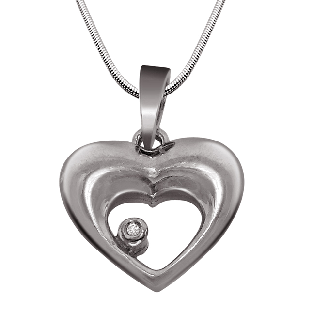 """Heart Soul -Real Diamond & Sterling Silver Pendants with 18"""" Chain"""