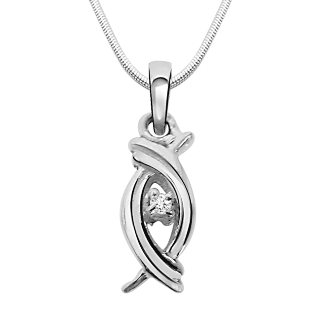 "Valentine Aura -Real Diamond & Sterling Silver Pendants with 18"" Chain"