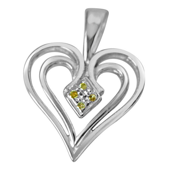 "Dual Heart -Real Diamond & Sterling Silver Pendants with 18"" Chain"