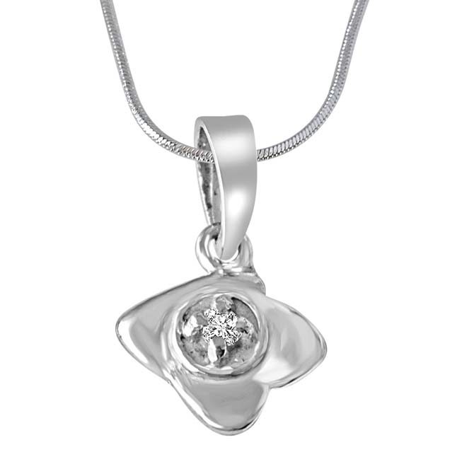 Unique Wonder Sterling Silver Real Diamond Pendant with 18 IN Chain