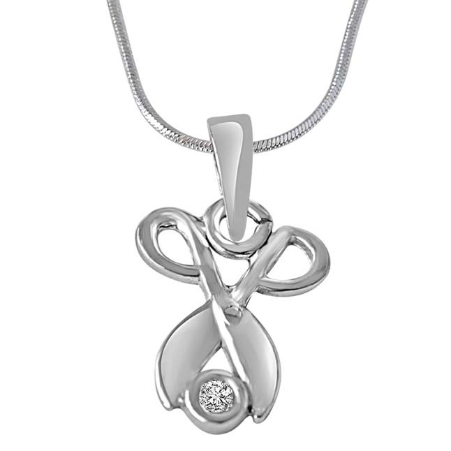 Silver Allure Sterling Silver Real Diamond Pendant with 18 IN Chain