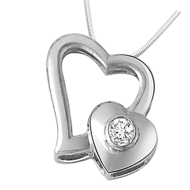"Hearty Duo -Real Diamond & Sterling Silver Pendants with 18"" Chain"