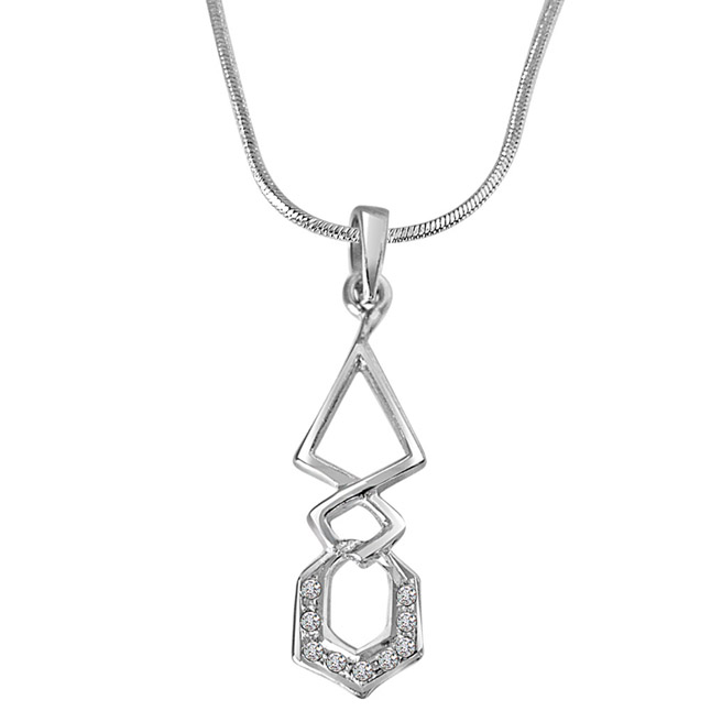 Twist Me Around - Real Diamond & Sterling Silver Pendant with 18 IN Chain