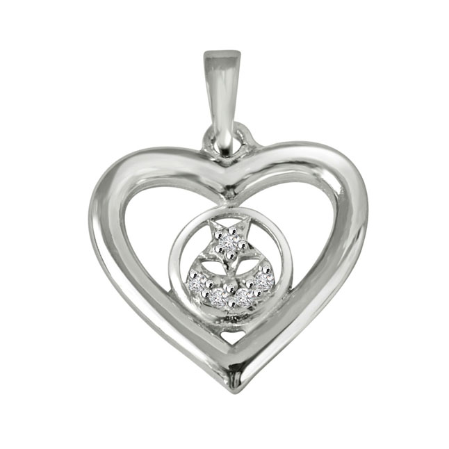 "Stary Heart -Real Diamond & Sterling Silver Pendants with 18"" Chain"