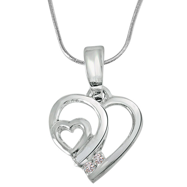 "Tiny Heart -Real Diamond & Sterling Silver Pendants with 18"" Chain"