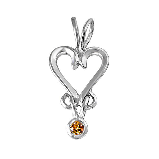 Confluence of Love - Real Diamond Pendant in Sterling Silver With 18 IN Chain