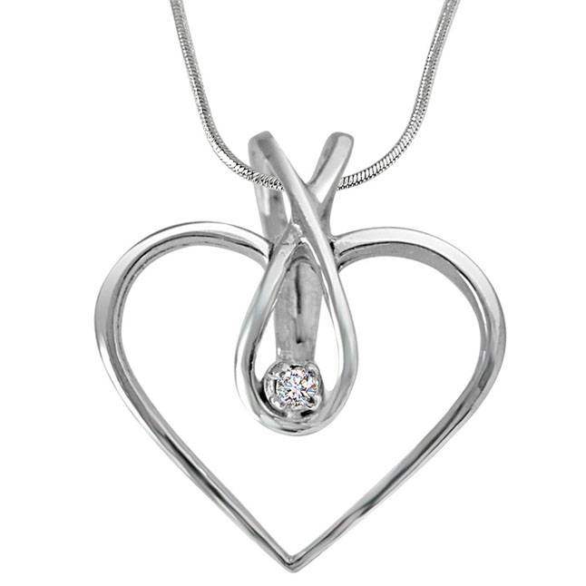 "Endless Love Real Diamond Pendants in Sterling Silver with 18"" Chain"