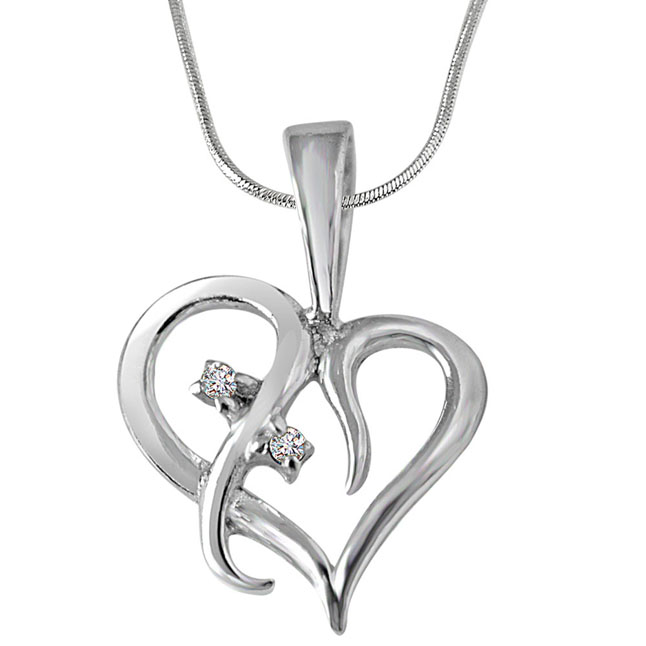 "Loyal Love -Real Diamond & Sterling Silver Pendants with 18"" Chain"