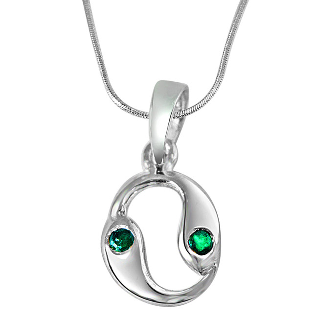 "Emerald Eye -Real Emerald & Sterling Silver Pendants with 18"" Chain -Gemstone Pendants"