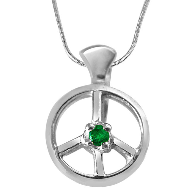 Emerald Wheel - Real Emerald & 925 Sterling Silver Pendant with 18 IN Chain