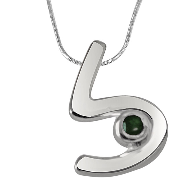 "Mine Forever -Real Emerald & Sterling Silver Pendants with 18"" Chain"
