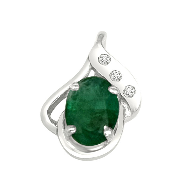 """Sweet Connections Real Diamond, Green Emerald & Sterling Silver Pendants with 18"""" Chain"""