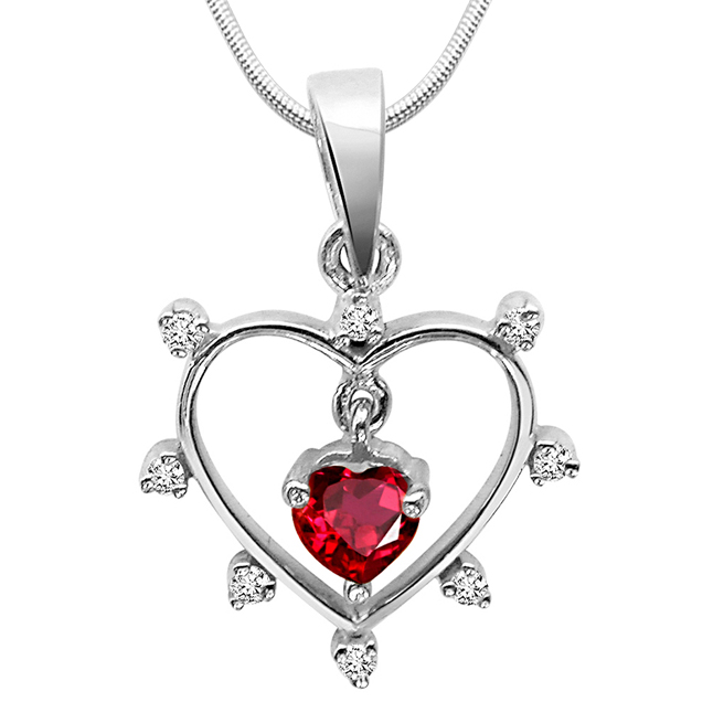 "Queen of all Jewels -Diamond & Silver Pendants with 18"" Chain"