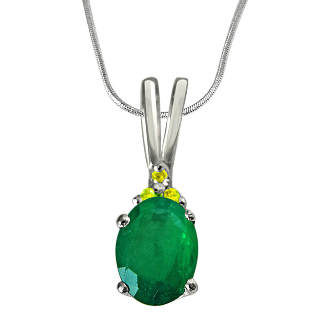 Green Theme - Real Diamond & Green Emerald Pendant in Sterling Silver with 18 IN Chain