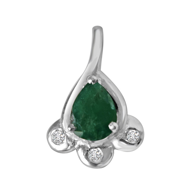 "Green Bud -Real Diamond & Green Emerald Pendants in Sterling Silver with 18"" Chain"
