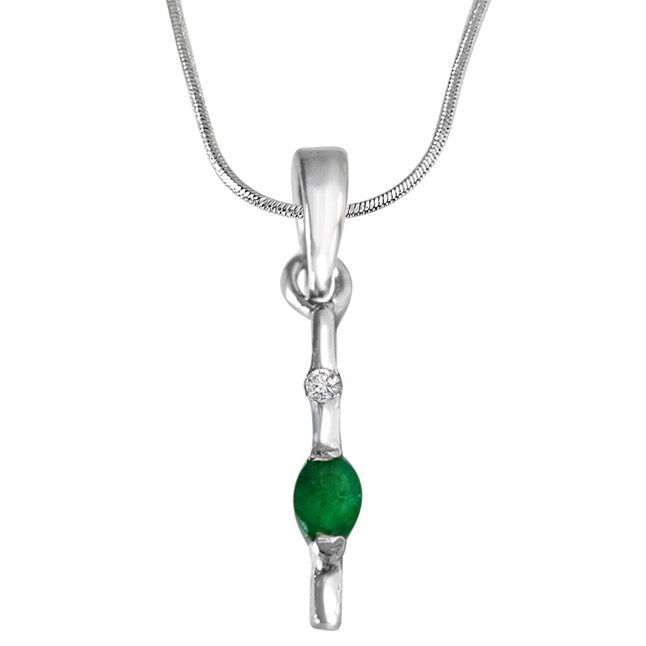 "Green Stick -Real Diamond & Green Emerald Pendants in Sterling Silver with 18"" Chain"