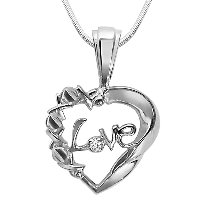 "Pure Love Magic -Real Diamond & Sterling Silver Pendants with 18"" Chain"