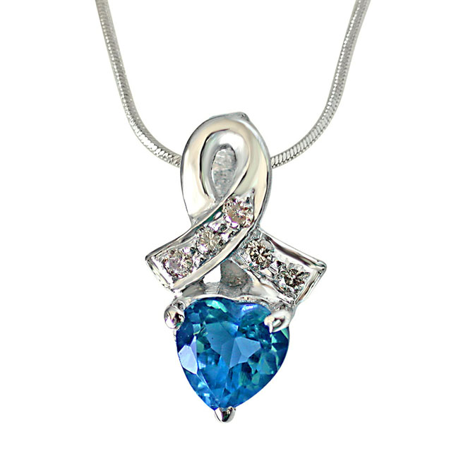Real Diamond & Heart Shaped Blue Topaz Pendant with 18 IN Chain