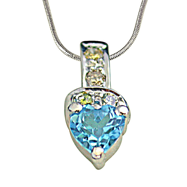 4 Diamonds Set with Heart Shape Swiss Blue Topaz 925 Silver Pendant with 18 IN Chain