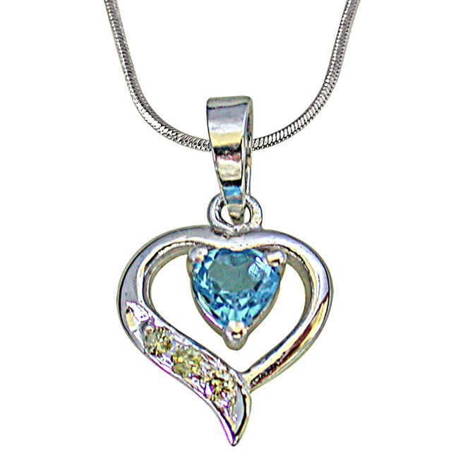 "3 Round Diamond Set in 925 Heart Shape Silver with Heart Blue Topaz centre Pendants with 18"" Chain"