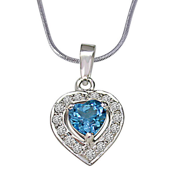 Heart Shaped Blue Topaz & Real Diamond Pendant With 18 IN Chain