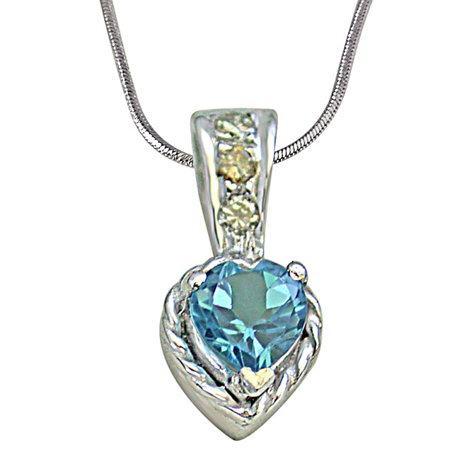 "Solitaire Heart Shape Swiss Blue Topaz with 3 Diamond in 925 Silver Pendants with 18"" Chain"