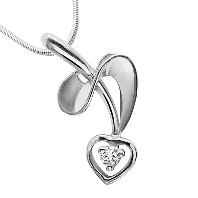 "Twisted Love -Real Diamond & Sterling Silver Pendants with 18"" Chain"