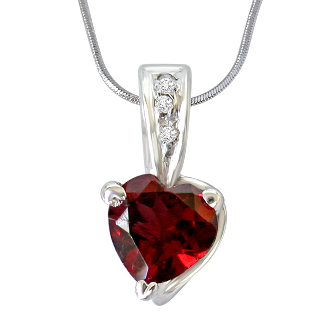 Big Heart Shaped Red Garnet & Real Diamond Pendant with 18 IN Chain