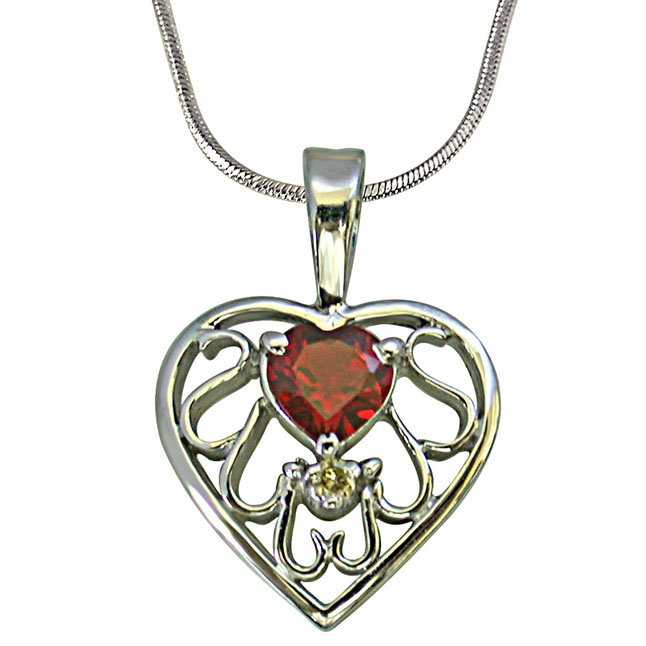 "Diamond & Heart Garnet set in Heart n Heart 925 Silver Pendants with 18"" Chain"