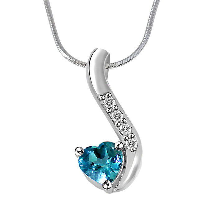 "Heart Shaped Blue Topaz & Real Diamond Silver Pendants with 18"" Chain"
