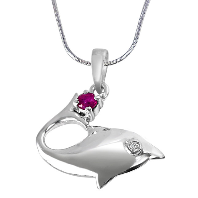 "Lovista Magic Real Diamond, Red Ruby & Sterling Silver Pendants with 18"" Chain"
