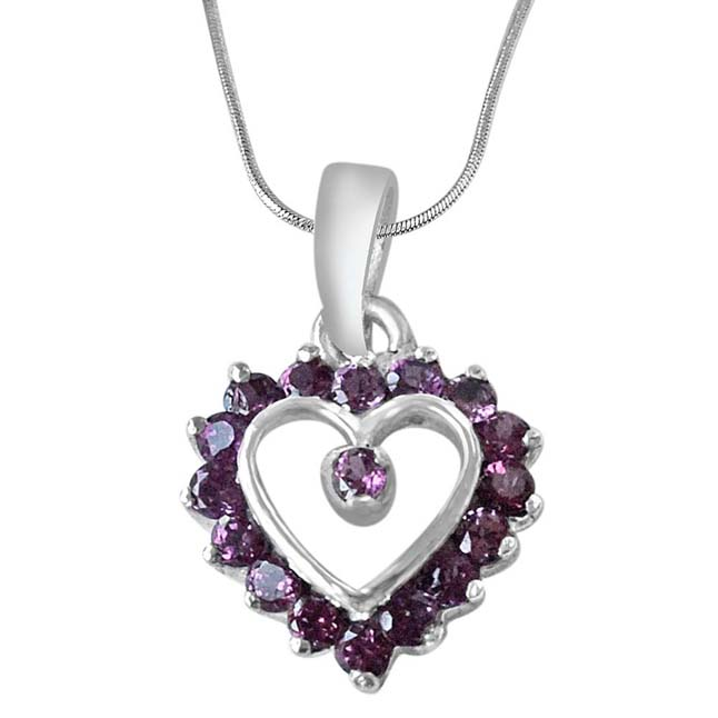 Love for Rhodolite Sterling Silver Pendant with 18 IN Chain