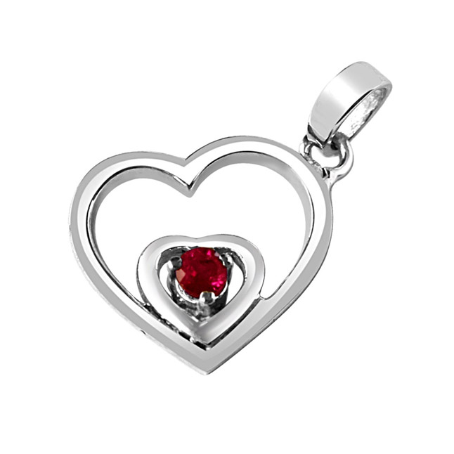 "Treasures Of my Life Red Ruby & Sterling Silver Pendants with 18"" Chain"