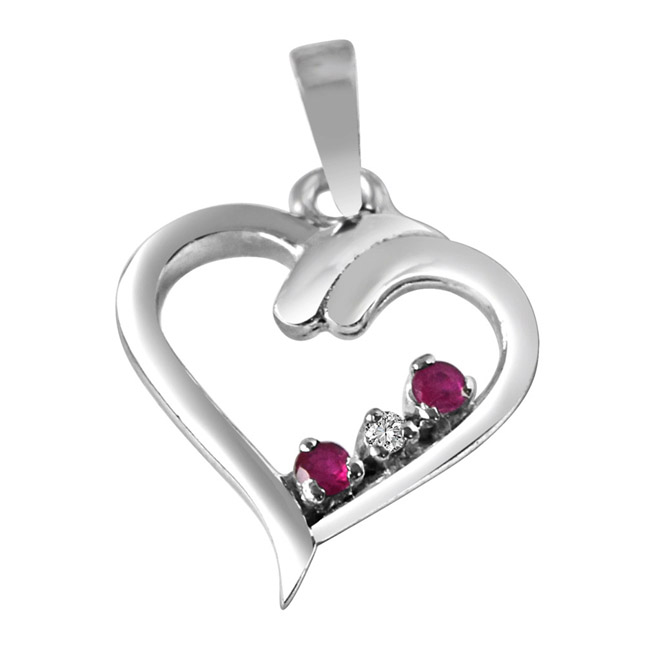 "Magical Memories Real Diamond, Red Ruby & Sterling Silver Pendants with 18"" Chain"