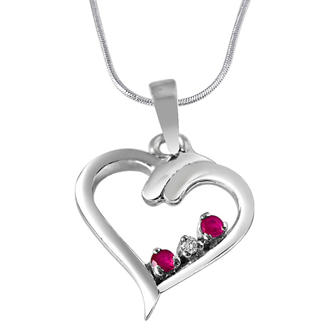 """Magical Memories Real Diamond, Red Ruby & Sterling Silver Pendants with 18"""" Chain"""