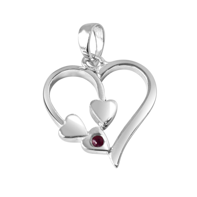 "Together Forever Red Ruby & Sterling Silver Pendants with 18"" Chain"