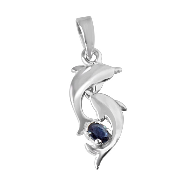 "Amazing Twist Blue Oval Sapphire & Sterling Silver Pendants with 18"" Chain"