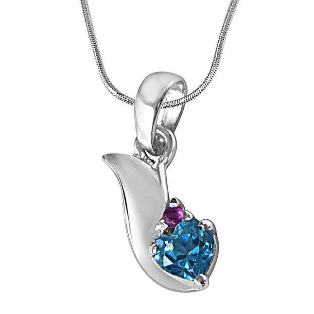 "Bless our Love Blue Topaz, Red Ruby & Sterling Silver Pendants with 18"" Chain"